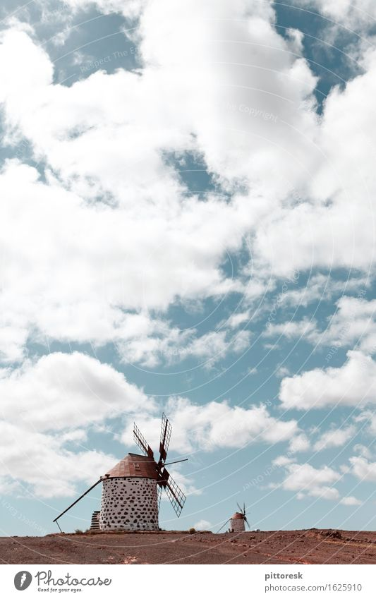 Wind V Environment Nature Plant Air Esthetic Windmill Clouds Sky 2 Spain Calm Wind energy plant Idyll Colour photo Multicoloured Exterior shot Experimental