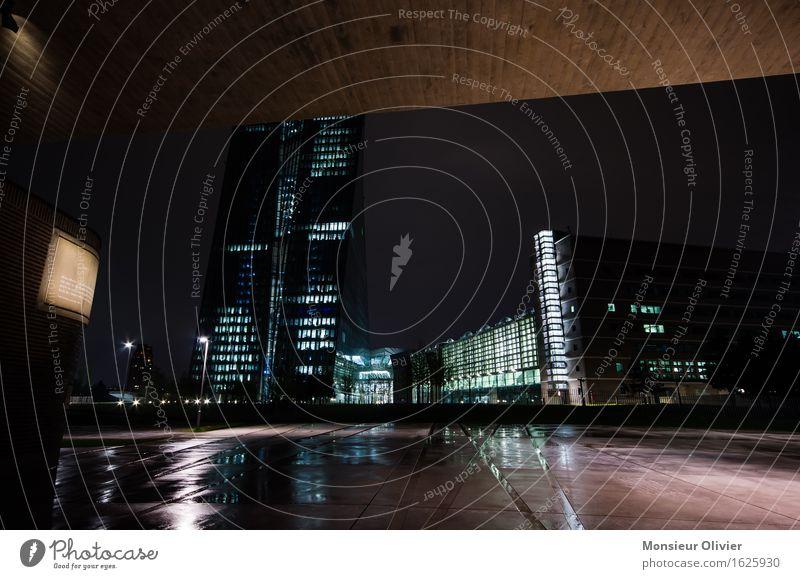City Blue Black Cold Brown Pink Threat Might Money Landmark Bank building Monument Frankfurt Night shot European Central Bank