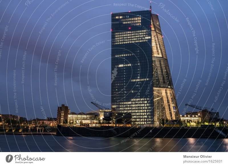 Financial twilight hour, Frankfurt, Germany, 2016 River Main Town Skyline European Central Bank ecb Might Night shot Long exposure Colour photo Exterior shot