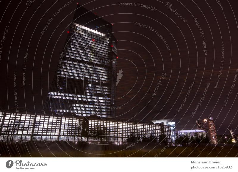 Black Cold Architecture Germany High-rise Might Skyline Downtown Frankfurt Night shot European Central Bank