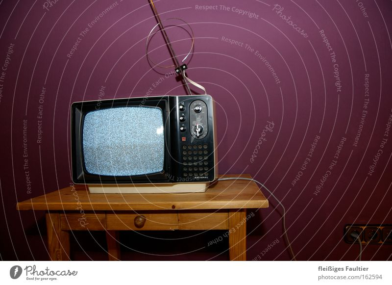image interference TV set Old Electronics Retro Sixties Violet Wall (building) Hissing Watching TV Television Antenna Electrical equipment Technology Obscure