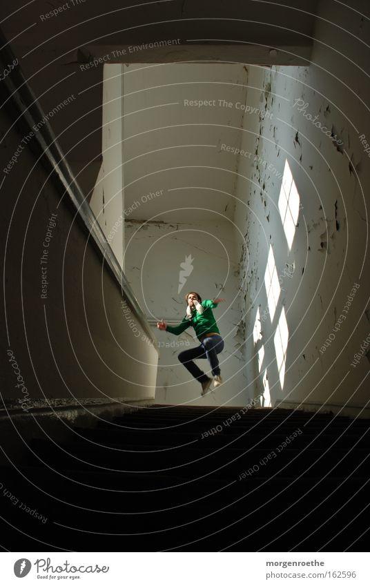 high jump Jump Light Window Stairs Human being Man Self portrait Brewery Hallway Above Black White Derelict
