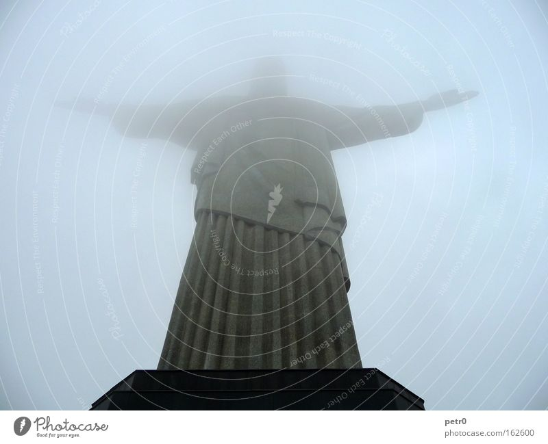 in the fog Corcovado-Botafogo Jesus Christ Statue Concrete Fog Clouds Rio de Janeiro Benediction Mysterious Landmark Monument Trust Christo redentor blessing