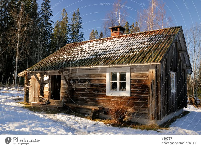 Cabin House Sweden House (Residential Structure) Winter Snow Snowdrift Dalarna Vacation & Travel Lifestyle Concepts And Ideas Cottage Snowflake Exterior shot