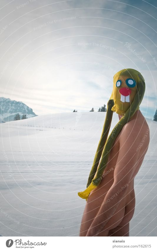 Joy Snow Naked Funny Crazy Bottom Easter Hind quarters Mask Alps Human being Swiss Alps Tights Surrealism Hare & Rabbit & Bunny Comic