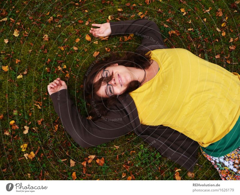 autumn delights Human being Feminine Young woman Youth (Young adults) 1 18 - 30 years Adults Environment Nature Plant Autumn Meadow Smiling Lie Free