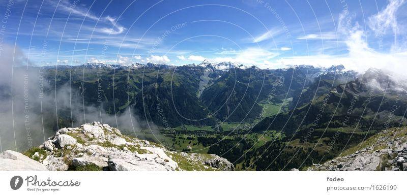 alpine mountain chain panorama Life Vacation & Travel Trip Adventure Freedom Summer Sun Mountain Hiking Climbing Mountaineering Nature Landscape Air Sky Horizon