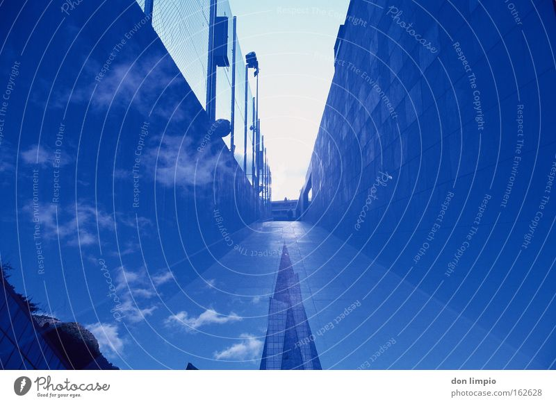 surreal Sky Horizon Andorra Andorra la Vella Europe Town High-rise Manmade structures Building Architecture Wall (barrier) Wall (building) Modern Point Blue