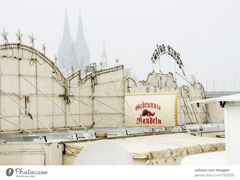 Church Signage Construction site Landmark Monument Fairs & Carnivals North Rhine-Westphalia Dome Cologne Rhine Signs and labeling Caravan House of worship Profession Showman