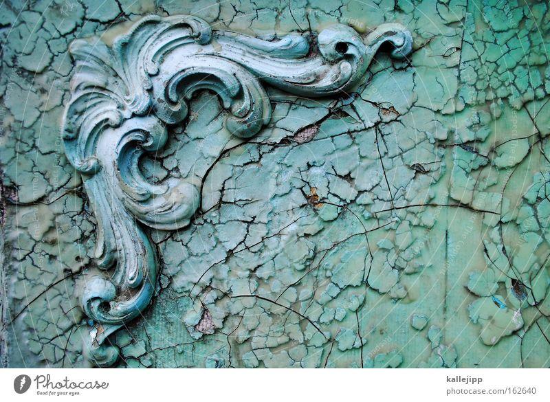 Green Plant Architecture Decoration Castle Past Crack & Rip & Tear Ancient Bow Festive Baroque Flake off Curlicue