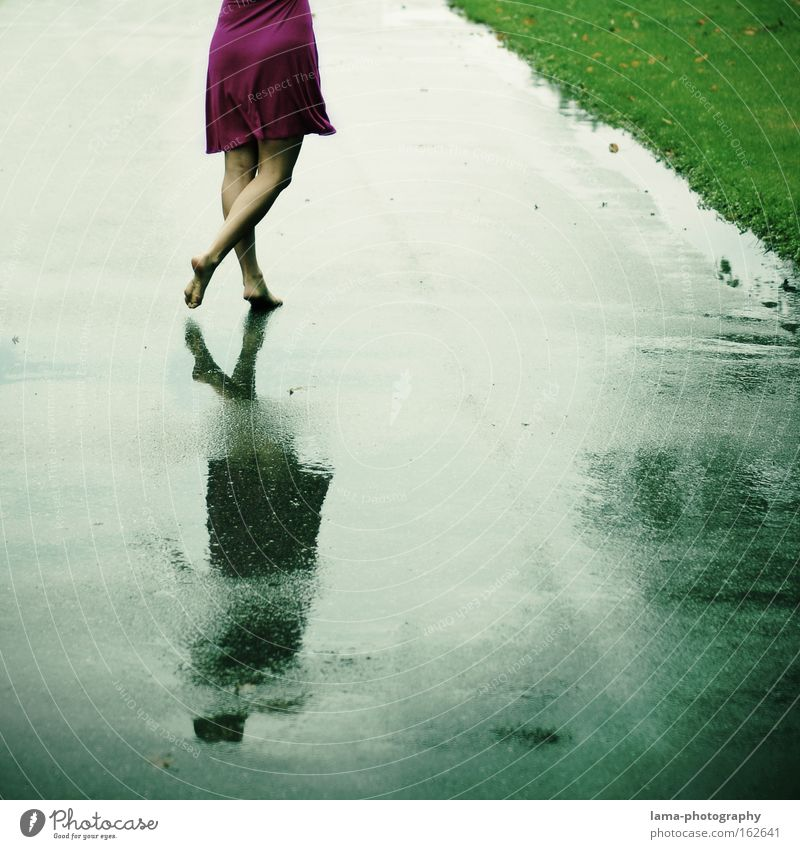 Woman Summer Joy Spring Freedom Sadness Feet Lanes & trails Rain Dance Wet To go for a walk Dress Going Thunder and lightning Barefoot