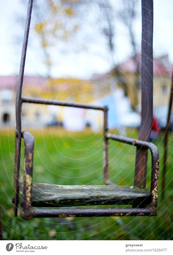 The broken child's swing. Infancy Nature Autumn Garden Park House (Residential Structure) Old Sadness Loneliness Seesaw teeter-totter vintage yard Backyard