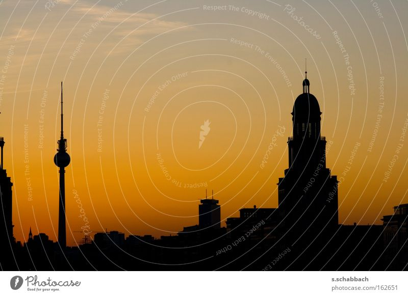 Berlin Sundown Sunset Silhouette Frankfurter Tor Television Berlin TV Tower Dusk Frankfurter Allee Karl-Marx-Allee Traffic infrastructure Long exposure sundown