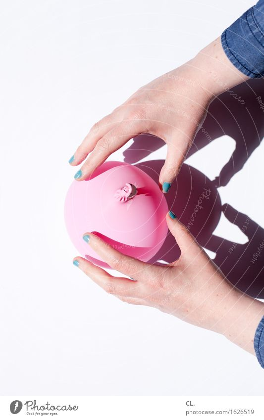 Human being Woman Blue Hand Adults Feminine Playing Pink Esthetic Fingers Balloon Turquoise Nail polish Manicure