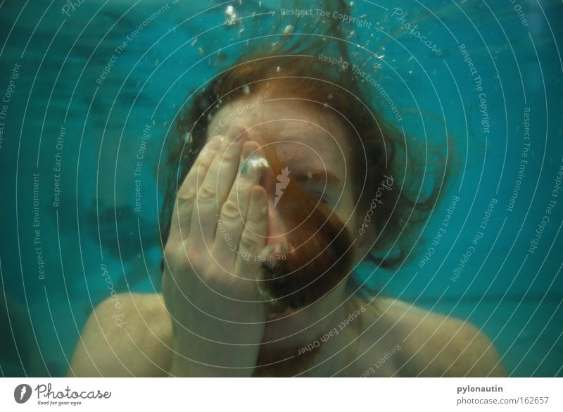 You can't see anything with the second one! Underwater photo Swimming pool Dive Blue Hair and hairstyles Drown Air Ocean Vacation & Travel Nixie (Water Spirit)