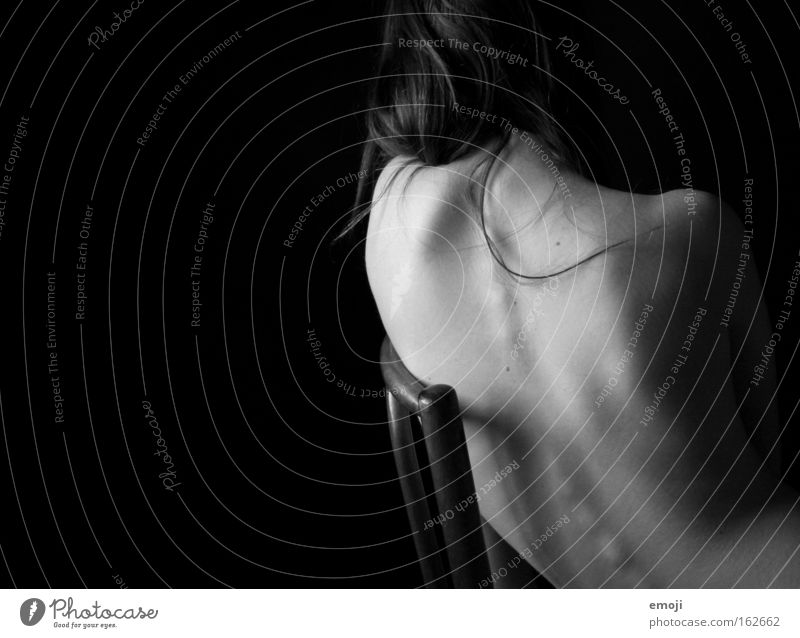 the back. Naked Nude photography Spinal column Feminine Delicate Gray Black Black & white photo Skin Skeleton Thin Back Sit sitting posture Body Posture Healthy