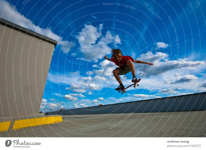 jump the sky Skateboarding Sports Jump Joy Style Flying Extreme Freedom Life Effort Concentrate Parking garage Extreme sports