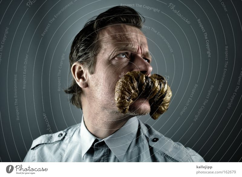 Human being Man Mouth Portrait photograph Face Shirt Facial hair Breakfast Comic Humor Baked goods Joke Croissant Food Children`s mouth