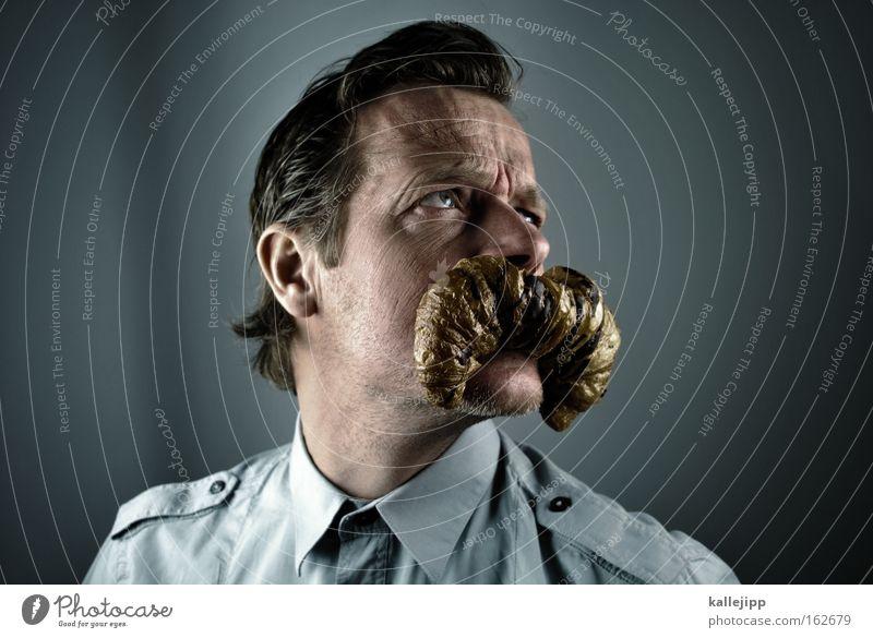 knack und back Man Human being Mouth Children`s mouth Facial hair Croissant Breakfast Comic Portrait photograph Shirt Joke Humor Baked goods cartoon