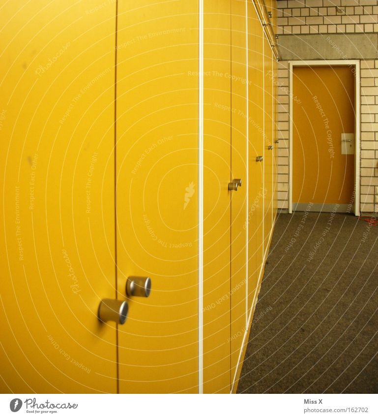 yellow Colour photo Multicoloured Interior shot Detail House (Residential Structure) School School building Classroom Building Door Old Yellow Cupboard Carpet