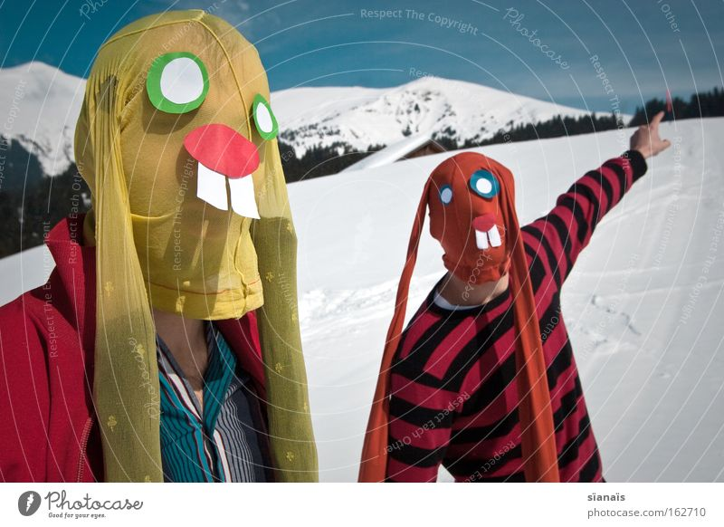 Mountain Snow Funny Crazy Alps Easter Indicate Mask Carnival Switzerland Stage play Swiss Alps Hare & Rabbit & Bunny Surrealism Stupid Humor