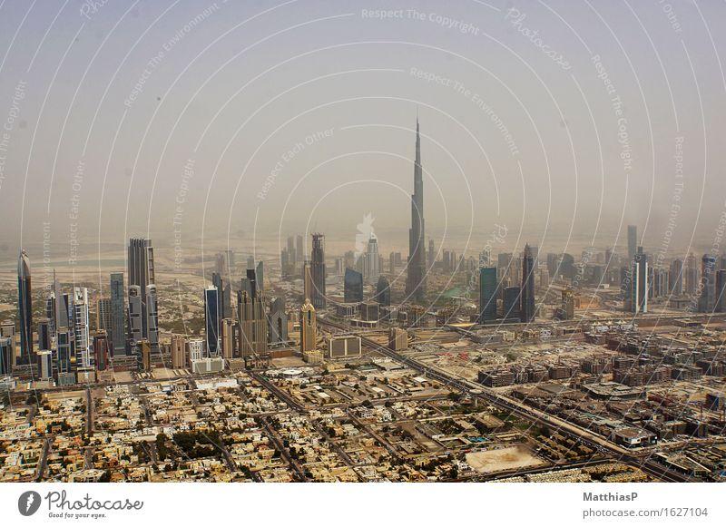 The skyscrapers of Dubai with Burj Khalifa Lifestyle Vacation & Travel Tourism Far-off places City trip Architecture Landscape Beautiful weather Fog Drought