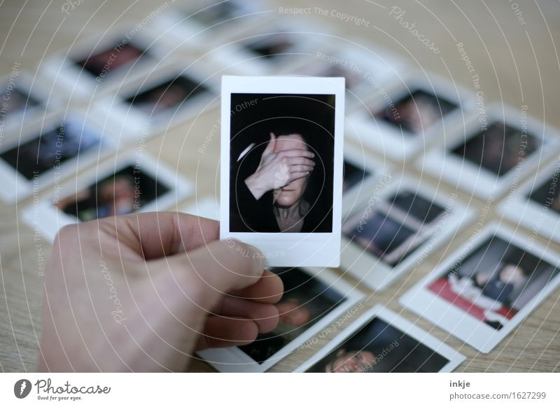 Polaroids woman with hand in front of face Woman Adults Life Face Hand 1 Human being Picture-in-picture Photography Accumulation Emotions Shame Remorse