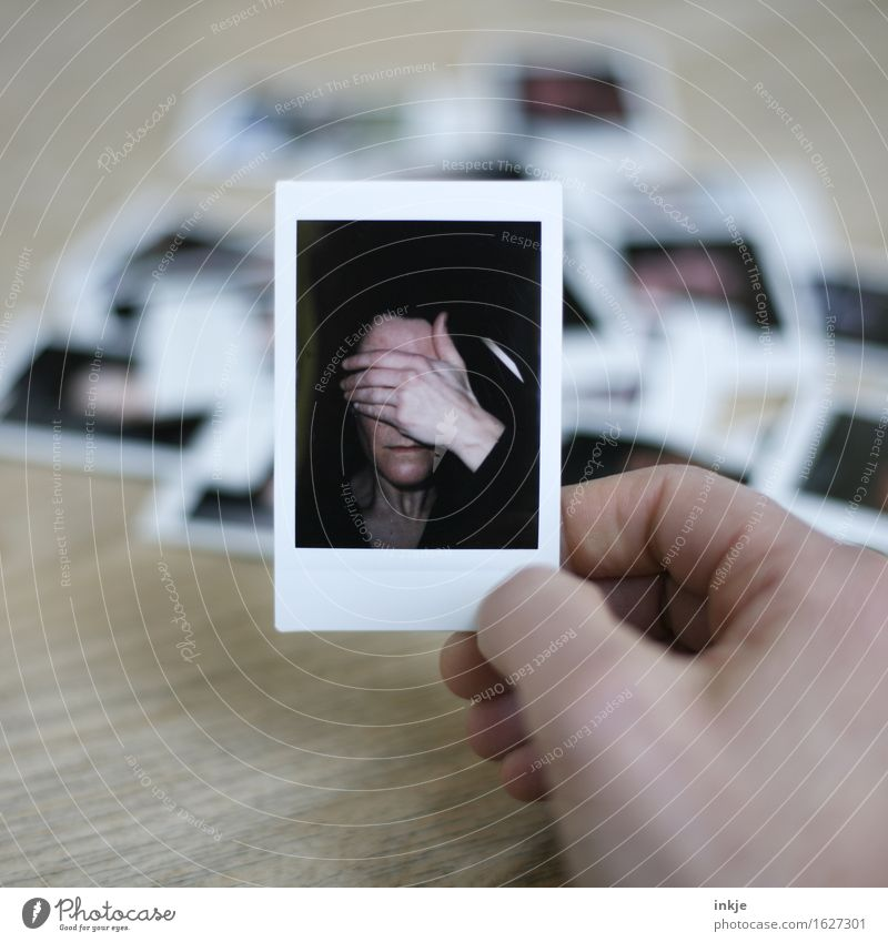 ...... ! Lifestyle Style Woman Adults Face Hand 1 Human being Collection Polaroid Photography Exceptional Emotions Moody Concern Shame Remorse Inhibition