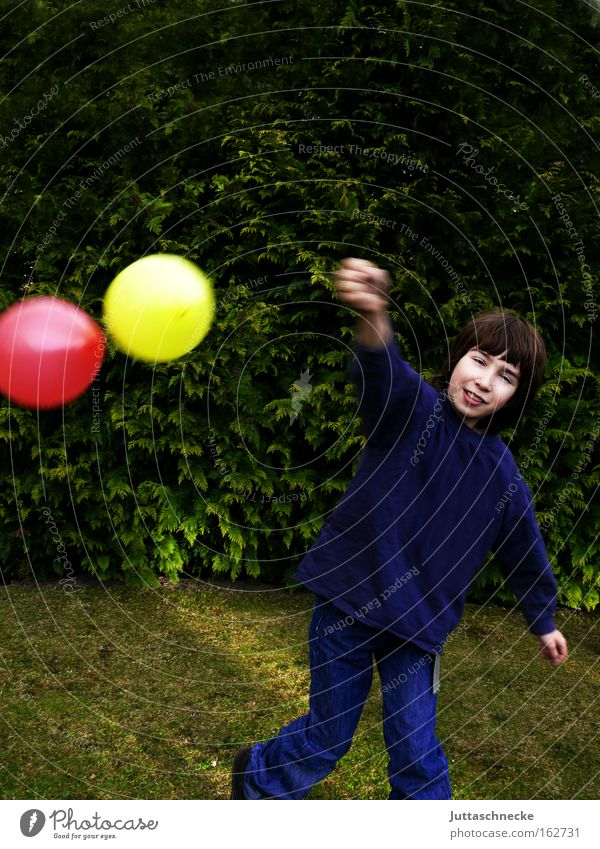 Child Red Joy Yellow Boy (child) Playing Balloon Infancy To hold on Light heartedness