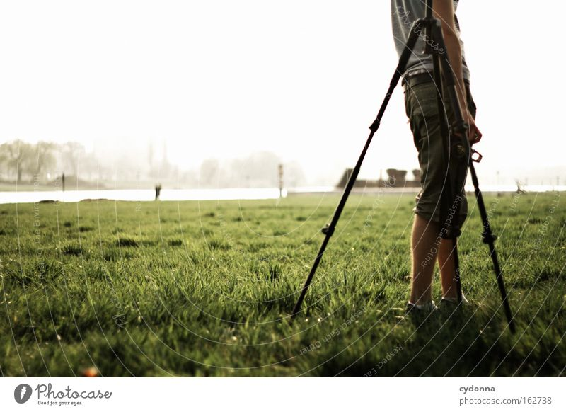 Human being Sky Nature Far-off places Spring Meadow Time Freedom To go for a walk Longing Desire Tripod