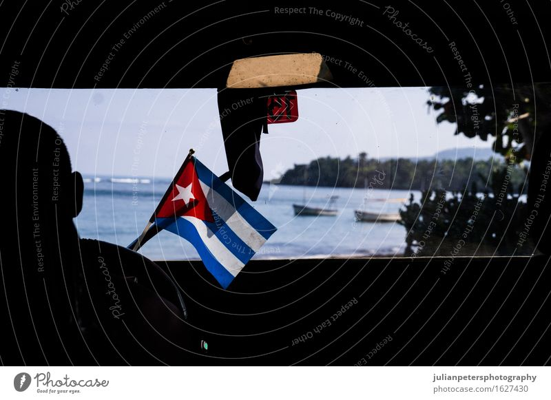Car with Cuban flag Vacation & Travel Ocean Culture Landmark Flag Driving america American background Banner caribbean countries country Flow Government Havana