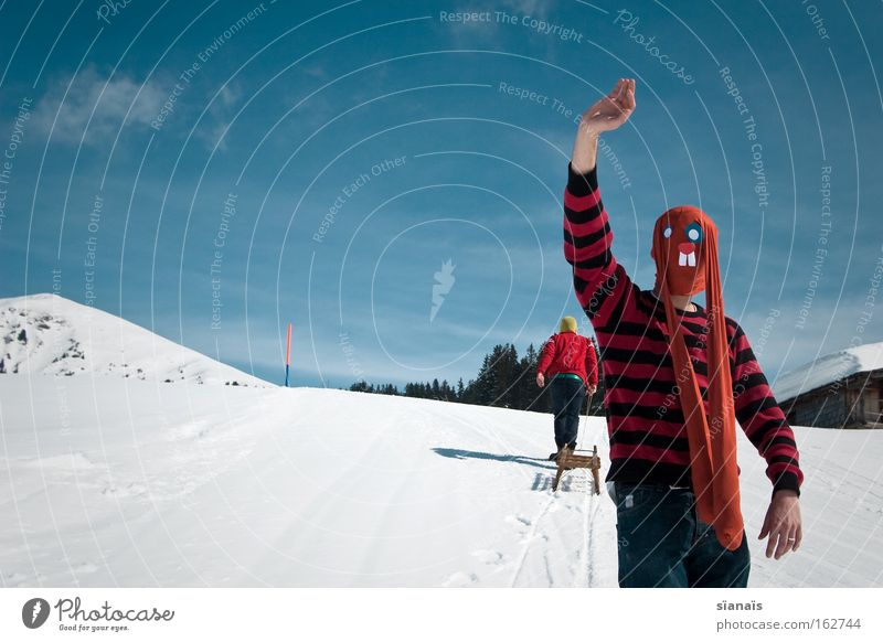 Sky Snow Mountain Funny Crazy Easter Switzerland Mask Alps Swiss Alps Tights Hare & Rabbit & Bunny Comic Wave Salutation Easter Bunny
