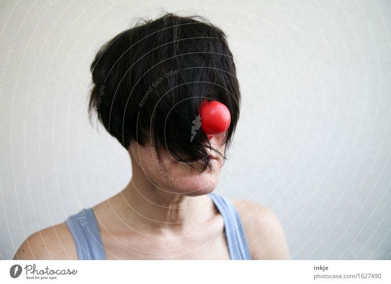 Woman with clown nose and hair in front of her face Lifestyle Style Joy Clown Adults Head Hair and hairstyles Face 1 Human being Black-haired Short-haired