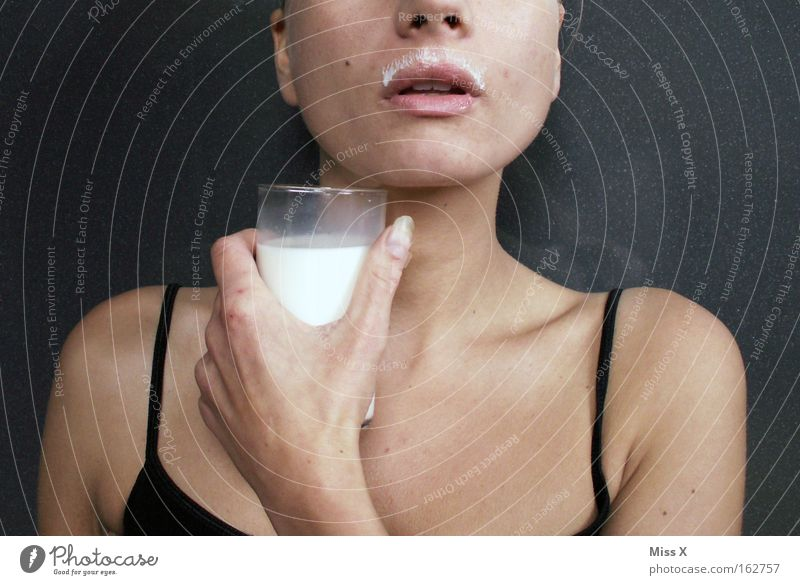 milkmaid Colour photo Interior shot Nutrition Beverage Drinking Milk Healthy Woman Adults Mouth Facial hair Milkshake