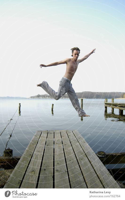 spring! Man Jump Water Lake Footbridge Blue sky Summer Funsport Joy Exterior shot