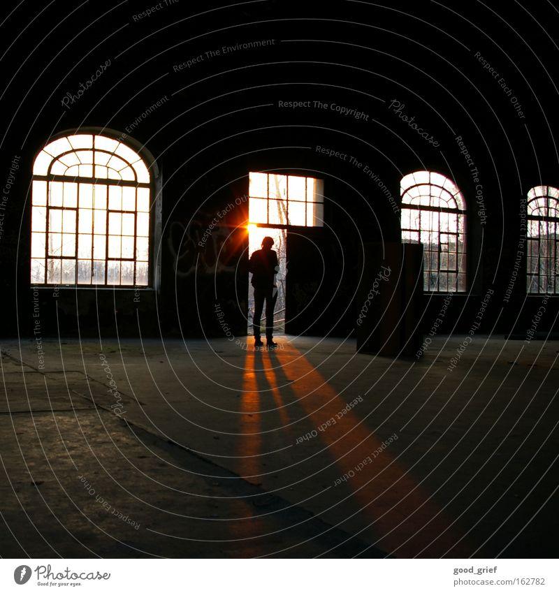 Human being Sun Loneliness Dark Window Legs Industry Factory Warehouse Shadow