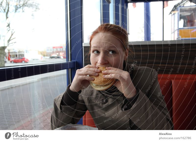 Open your mouth! Nutrition Eating Fast food Gastronomy Woman Adults Red-haired Moody Passion Appetite Cheeseburger Hamburger Fast food restaurant Brown eyes