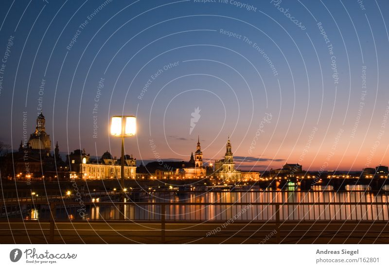 Boys' and girls' town Colour photo Exterior shot Copy Space top Evening Twilight Reflection Sunrise Sunset Long exposure Panorama (View) River Dresden Town