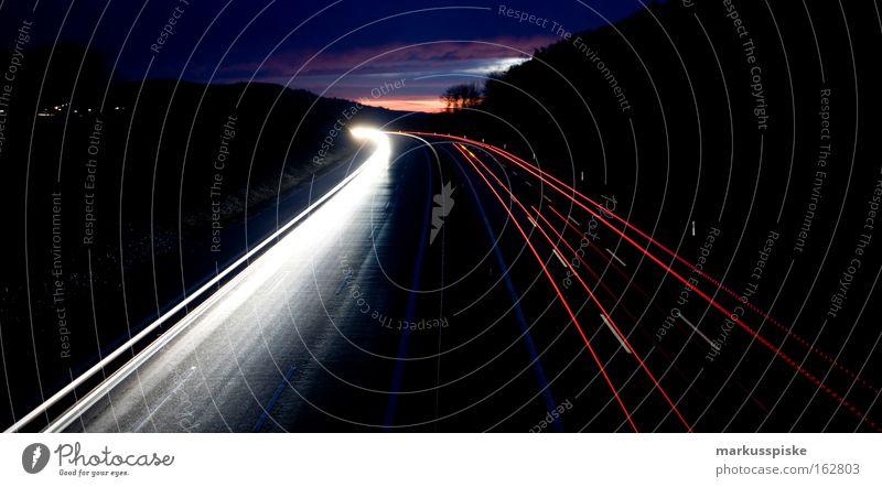 Sky Street Signs and labeling Horizon Transport Light Logistics Highway Night Floodlight Exposure Rear lights