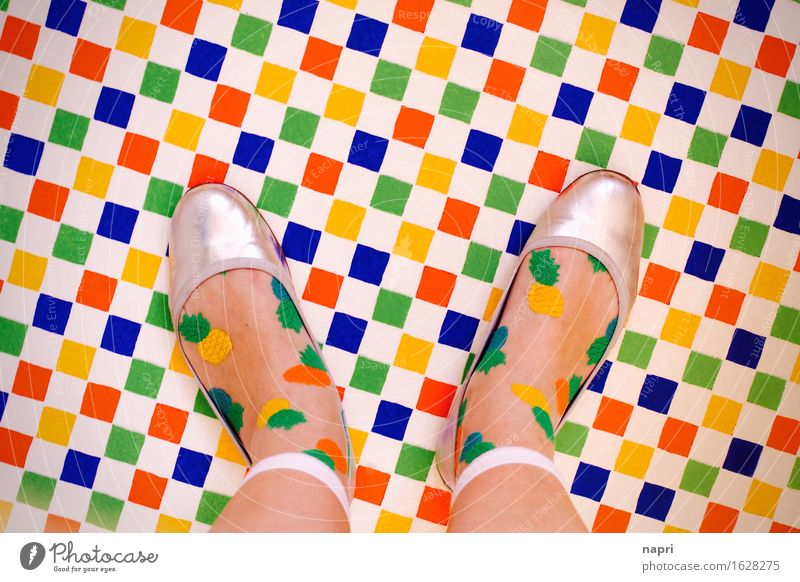 Human being Colour Joy Style Fashion Feet Footwear Stand Creativity Uniqueness Hip & trendy Stockings Checkered Ballerina Colour palette