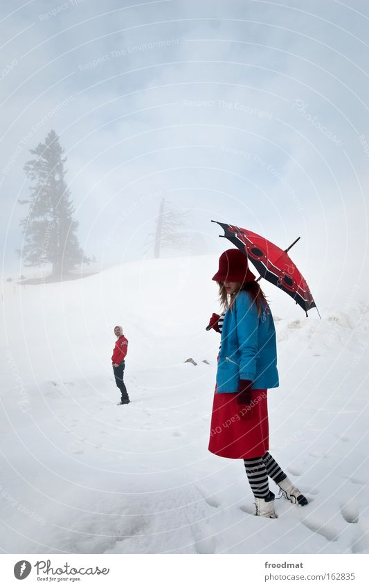 Woman Human being Sky Man Tree Vacation & Travel Winter Cold Snow Mountain Dream Adults Couple Contentment Trip Fog