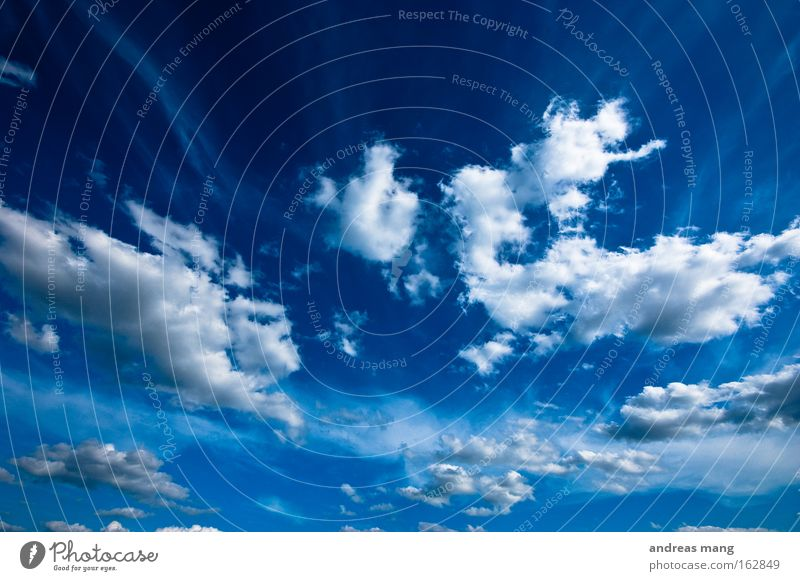 Nature Sky Blue Summer Clouds Far-off places Movement Freedom Infinity Dynamics Deep Depth of field Extreme Spectacle