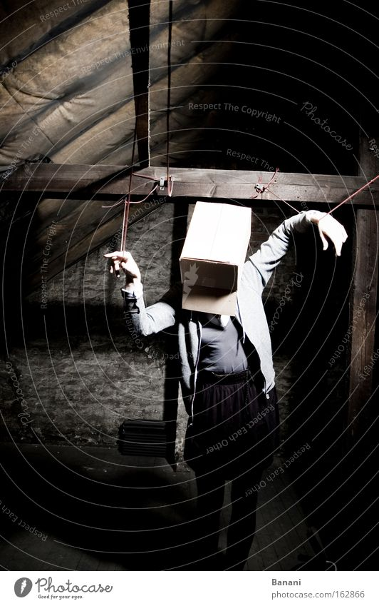 In the ropes Disorientated Loneliness Cardboard Attic Discern Sadness Rope Dark Stage lighting Interior shot