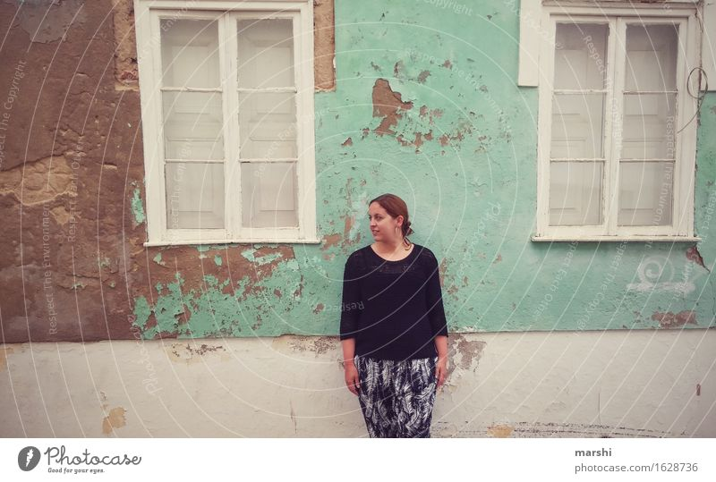 Human being Woman Vacation & Travel Youth (Young adults) City Young woman House (Residential Structure) Window Travel photography Adults Wall (building)