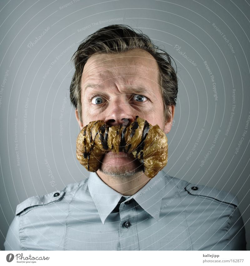 Human being Man Portrait photograph Nutrition Shirt Facial hair Breakfast Comic Humor Baked goods Joke Croissant Hair