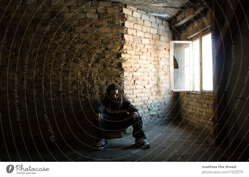 Human being Man Loneliness Window Sadness Think Bright Room Sit Grief Transience Derelict Brick Meditative Distress Insight