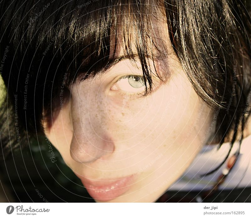 What the hell's going on? Caresses Youth (Young adults) Woman Feminine Eyes Face Looking Neck Lips Cheek Sun Shadow Freckles Close-up Beautiful Summer