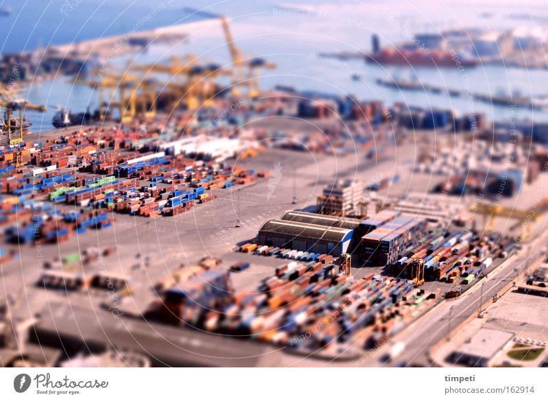 Ocean Watercraft Industry Harbour Truck Depth of field Crane Barcelona Container Miniature Tilt-Shift