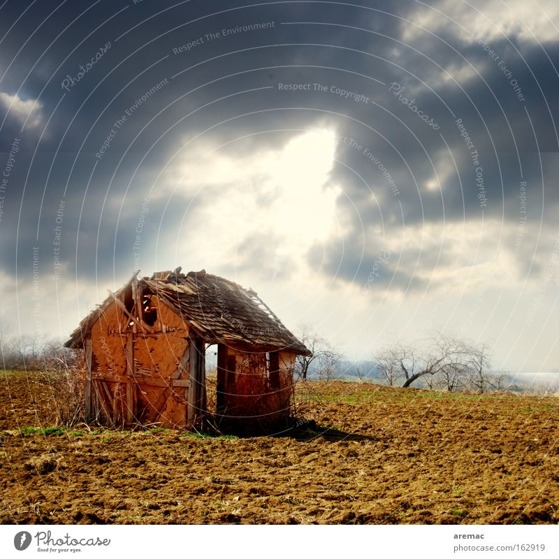 Sky Sun Loneliness House (Residential Structure) Landscape Architecture Construction site Field Derelict Ruin Barn Crisis House building