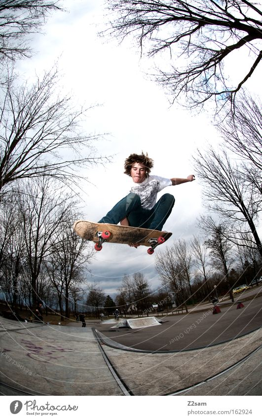 season start II Skateboarding Action Jump Park Sports Tree Nature Freestyle Style Youth (Young adults) Funsport Flying Wooden board Air Trick jump